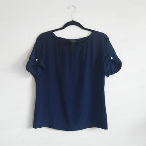 White House Black Market Silk Navy Blue Blouse